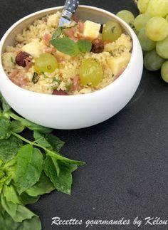 Taboulé d'automne au raisin, jambon, fruits secs et fromage
