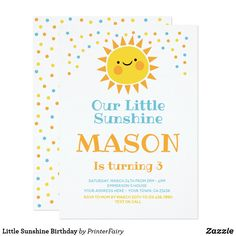 Shop Little Sunshine Thank you cards created by PrinterFairy. Personalize it with photos & text or purchase as is! Birthday Thank You Cards, First Birthday Invitations, Sunshine Birthday Parties, First Birthday Parties, 1st Birthdays, Zazzle Invitations, Your Cards, Rsvp, Card Making