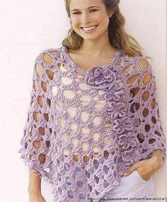 Crochet patterns: Crochet Summer Lacey Poncho with Flowers Free Chart
