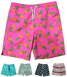 51ca45d040 Find the best prices on INGEAR Little Boys Quick Dry Beach Board Shorts  Swim Trunk Swimsuit Beach Shorts with Mesh Lining (Pink Pineapple, and save  money.