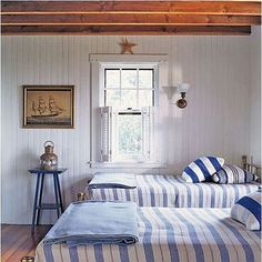 Nautical Bedroom- notice the ship picture.G-ma has one of your Dad's just about like that at her house! Beach House Bedroom, Nautical Bedroom, Coastal Bedrooms, Beach House Decor, Home Bedroom, Bedroom Decor, Home Decor, White Bedrooms, Rustic Bedrooms