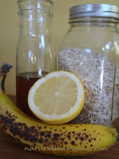 Natural beauty recipes facial mask w/ Lemon, Honey, Banana, & Oats.