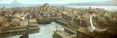 "Esgaroth, the city of the men of the Long Lake (from ""The Hobbit"") Fantasy Town, High Fantasy, Medieval Fantasy, Fantasy World, Fantasy Village, Lotr, Hobbit Art, Fantasy Places, Fantasy Setting"