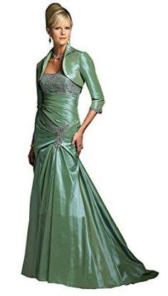 Rina di Montella R1823 Strapless Lace & Taffeta Long Mermaid Dress with Jacket - Size: 8, Color: Loden Green - 3/4 Sleeve Bolero Jacket, Long Mermaid Skirt; Train; Taffeta