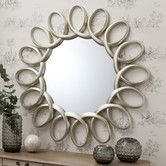 Gallery Direct Modern Round Auckley Mirror with Silver Loop Effect Frame. Large Mirrors For Sale, Large Round Mirror, Round Wall Mirror, Round Mirrors, Mirror Mirror, Mirror Floor, Silver Wall Mirror, Ornate Mirror, Wood Framed Mirror