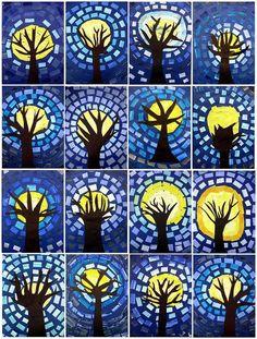 Kunstunterricht 2015 / 2016 - Schule Am Lindenberg The Research Paper Idea But this is not the ident Halloween Art Projects, Winter Art Projects, School Art Projects, Van Gogh Pinturas, Third Grade Art, Atelier D Art, Art Courses, Art Lessons Elementary, Middle School Art