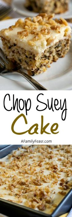 Chop Suey Cake - An easy, vintage recipe made with crushed pineapple and walnuts, topped with cream cheese icing.