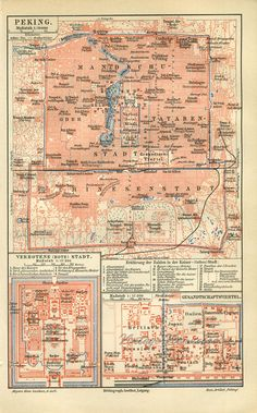 Original antique map of Peking/Beijing, including the Forbidden City and the Embassy Quarter. on Etsy. Vintage Maps, Antique Maps, Antique Prints, First Wedding Anniversary Gift, China Map, Cartography, Beijing, How To Memorize Things, Antiques