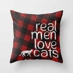 Red Plaid Throw Pillow - Real Men Love Cats