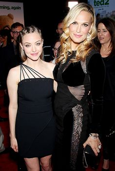 Amanda Seyfried looked amazing in a black cocktail dress with cornrows and a ponytail while posing with Molly Simms, also wearing a black dress with mesh cutouts, at the Ted 2 premiere in Hollywood.
