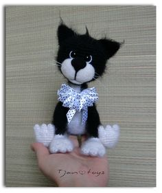 Cat black-white OOAK Stuffed Animals Crochet Handmade Soft by Tjan