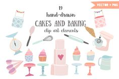 Cakes and baking clip art by The little cloud on Creative Market