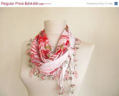 ON SALE white scarf Traditional Turkish Oya scarf rose scarf handmade scarf woman scarf party scarf free scarf on Etsy, $12.00  Pretty