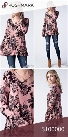 Rose/black floral print criss cross top! Stunning contrast! Beautiful print tunic with criss cross top and flowy fit Tops Tunics