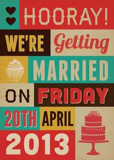 Poster Word Art Themed Vintage Retro Style Wedding Invitation. $3.00, via Etsy.