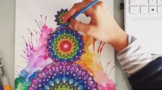 Rainbow mandala colour splash just a time lapse of working on most of the piece❤️ hope you guys like it! I used sharpies, bic and chameleon markers. Let me know what you think? Hope your having an awesome day! PS I'm wearing pjs don't judge
