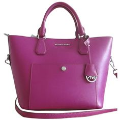 Pre-owned Michael Kors Greenwich Large Grab Fuchsia/luggage Tote Bag ($205) ❤ liked on Polyvore featuring bags, handbags, tote bags, leather crossbody tote, crossbody tote, genuine leather tote, purple leather handbag and leather tote bags