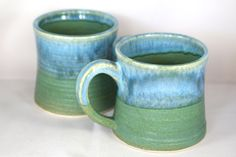 Large stoneware pottery mugs (set of 2), green and light blue (12oz) by CenteredVessel on Etsy