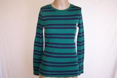 MERONA Sz S Tee Shirt Top Long Sleeves Green Blue Striped Cotton Casual NWT #Merona #KnitTop #Casual