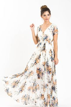 Charlotte Shortsleeve Ivory Floral Maxi Dress from Morning Lavender