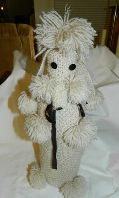 """Vintage Hand Knitted Poodle over a Bottle~Fits over a Wine Bottle~13"""" Tall"""