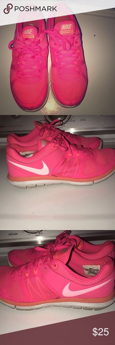 Neon Pink Nike Flex Run Super cool neon pink nike running shoes! I wore these shoes maybe a week, the shoe is in tact. Very clean and no stains anywhere on the shoe. Women's footlocker in San Diego talked me into getting them. 88.00 originally Nike Shoes Athletic Shoes
