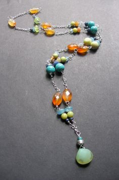 Long MultiStone Necklace  Color Splash by SimpleElementsDesign, $60.00