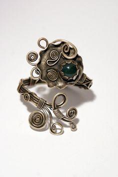 Green jade  cuff bracelet wire wrapped jewelry by BeyhanAkman, $41.00