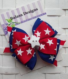 Boutique Red and Blue Stars Patriotic July 4th Layered Hair Bow