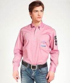 рубашка с вышивкой на кармане и на рукаве