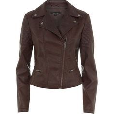 Brown Leather-Look Biker Jacket and other apparel, accessories and trends. Browse and shop 18 related looks.