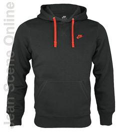 New Nike Mens Homme Fleece Hooded Sweatshirt Black Hoodie Top Sizes S M L XL