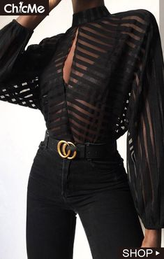 Black Color Casual Wear Shirt Stylish Top Stripes Keyhole Front Mesh Blouse in Clothing, Shoes & Accessories, Women, Women's Clothing, Tops Looks Chic, Looks Style, My Style, Curvy Style, Trend Fashion, Look Fashion, Fashion Black, 90s Fashion, Black Aesthetic Fashion