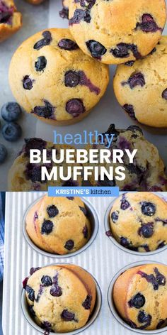 These Healthy Blueberry Muffins are soft and fluffy and packed with blueberries! They are easy to make in one bowl. This is the best homemade blueberry muffin recipe! #blueberrymuffins #breakfast #muffins