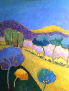 paysage panoramique - 60 x 50 cm - acryl - canvas