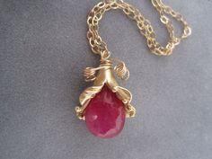 Ruby Necklace  Birthstone Necklace  July Birthstone  by trudyjames, $65.00