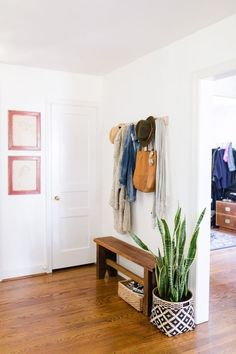 31 Amazing Mudroom And Entryway Benches, foyer decor with hooks Entryway Furniture: Do Not Neglect Y Entryway Shoe Storage, Entryway Decor, Entryway Ideas, Hallway Ideas, Entryway Hooks, Hallway Bench, Entrance Ideas, Storage Hooks, Basket Storage