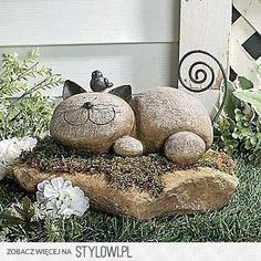 Kotek z kamieni - ozdoba do ogrodu na Stylowi.pl