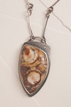 Beautiful Birdseye Rhyolite Pendant, Sterling Silver Chain, OOAK, Custom Cut Cabochon, Yellow and Brown Colors
