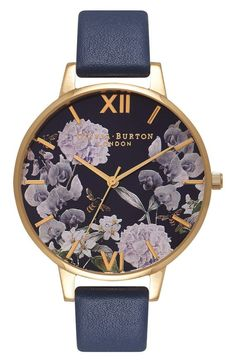 Product Image 1 purple flower watch gold rimmed