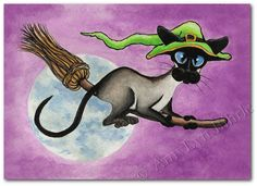 Siamese Cat Halloween Witch Flying Broom- Art Print or ACEO by Bihrle Siamese Kittens, Cats And Kittens, Gatos Cats, Funny Cat Pictures, Halloween Cat, Happy Halloween, Cat Furniture, Cat Drawing, Art Plastique