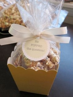 popcorn engagement announcement — Wedding Ideas, Wedding Trends, and Wedding Galleries <<< Super cute engagement party favors Popcorn Wedding Favors, Popcorn Favors, Wedding Reception Favors, Engagement Party Favors, Popcorn Bar, Wedding Favors Cheap, Bridal Shower Favors, Gourmet Popcorn, Wedding Ideas