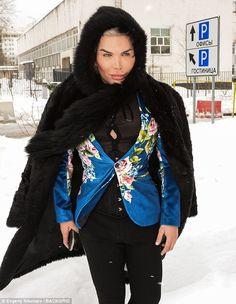 Braving the snow: 'Human Ken Doll' Rodrigo Alves managed to flaunt his eccentric fashion s...