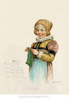 Vintage children (a girl) Pictures. Девочки на старинных иллюстрациях. : На крыльях вдохновения