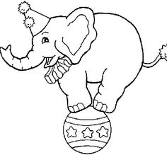 Elephant balancing on a ball coloring page - Coloringcrew.com