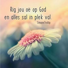 Rig jou oë op God en alles sal in plek val. Inspirational Qoutes, Uplifting Quotes, I Love You God, Afrikaanse Quotes, Religious Quotes, Bible Verses Quotes, You Are The Father, True Words, Stress And Anxiety