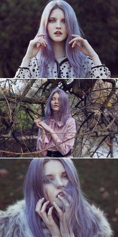 Purple hair. Photo by CECY YOUNG  Eu chamaria este cabelo de Roxi Pret a Portet e vocÊ?