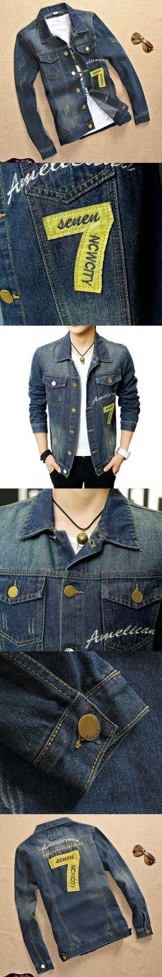 Male Scratched Jean Jacket Embroidery Logo Bomber Denim Jacket Men Fashion Hole Jacket Autumn Jean Jacket Casual Jeans Clothing