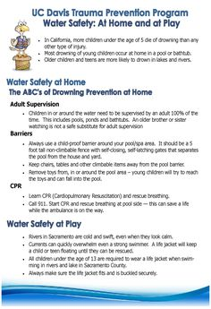 Water safety at home - the ABC's of drowning prevention