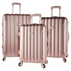 Kensie 3 pc Expandable Hardside Luggage Set - Rose Gold, Light Gold